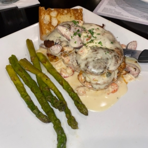 Boudin Stuffed Chicken with Asparagus and a missing Loaded Potato Cake