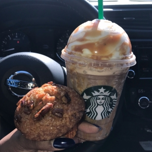 Maple Pecan Muffin with a Salted Caramel Mocha Frappuccino