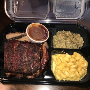3 Meat Combo with Dirty Rice and Macaroni & Cheese