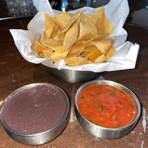 Chips, Salsa, and Black Bean Dip
