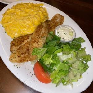 Grilled Catfish with Louisiana Macaroni & Cheese and Side Salad