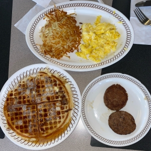 Pecan Waffle with Sausage,Hash Browns, and Scrambled Eggs - Waffle House